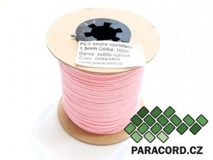 PES šňůra vyplétací 1,5mm (100m) - světle růžová