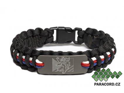 Survival paracord náramek ČR - trikolóra MINI