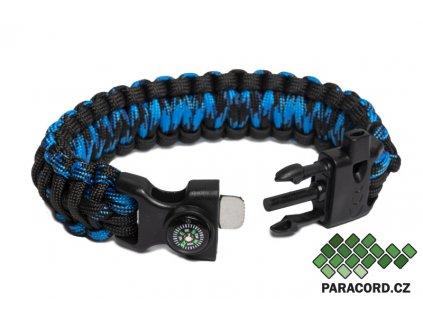 Outdoor paracord náramek FIRESTARTER BLUE