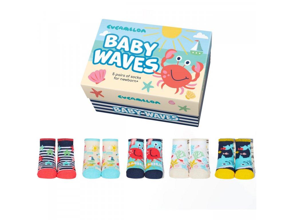 Detské veselé ponožky Baby waves veľ.: 0-12 mesiacov