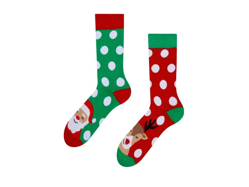 Teplé veselé ponožky Santa a Rudolf