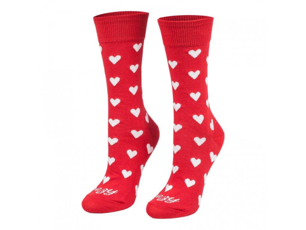 Veselé ponožky srdiečka červené dlhé