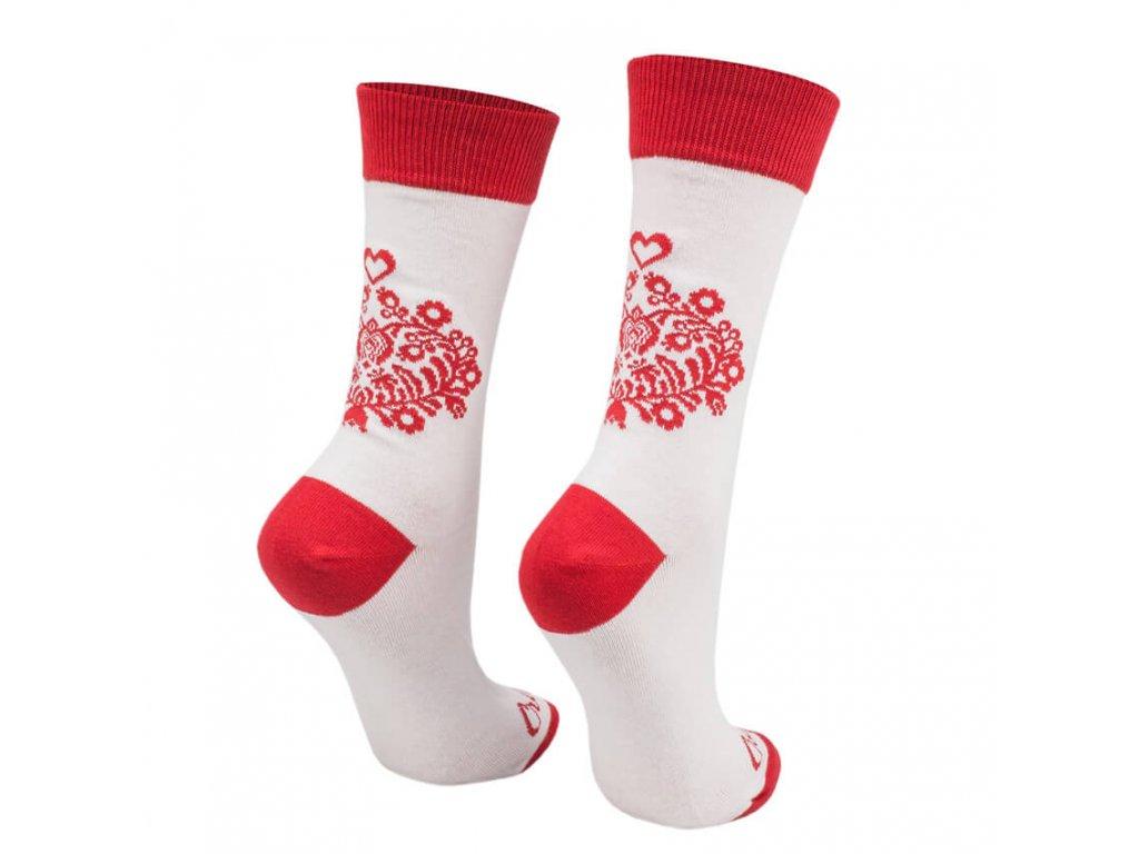 Veselé ponožky biele ľudové srdiečko