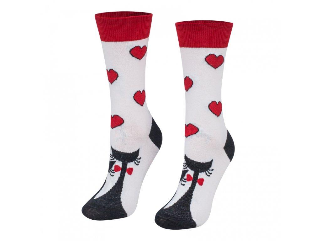 Veselé ponožky zaľúbené mačičky