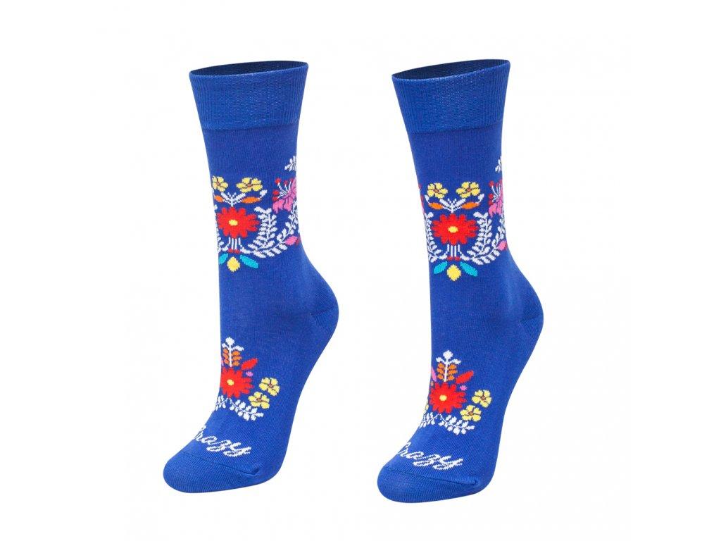 Veselé ponožky modré folk kvietky