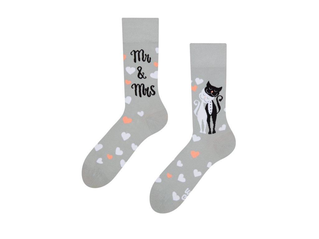 Veselé ponožky Svadobné mačky