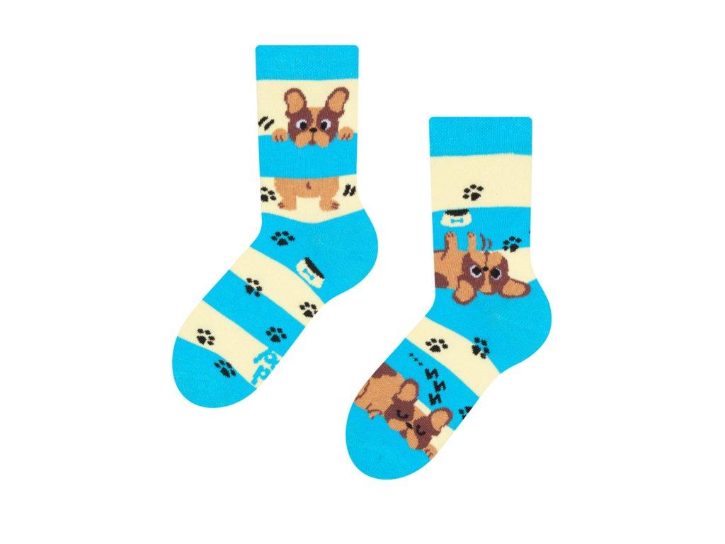 Detské veselé ponožky Psy a pruhy