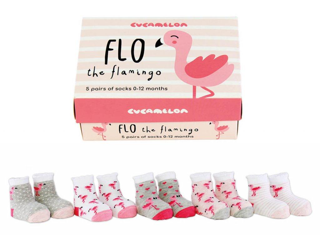 Detské veselé ponožky Flo the Flamingo veľ.: 0-12 mesiacov