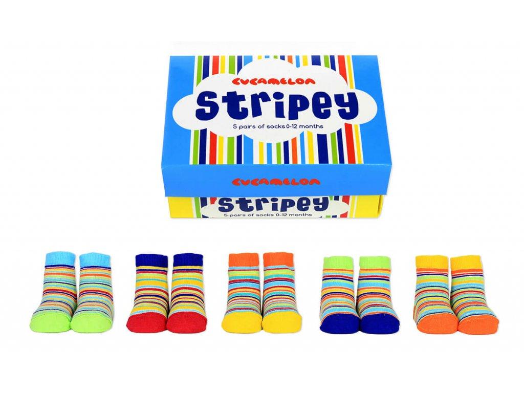 Detské veselé ponožky Stripey veľ.: 0-12 mesiacov