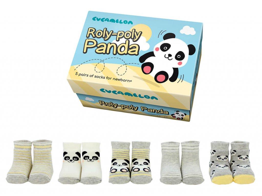 Detské veselé ponožky Roly-poly Panda veľ.: 0-12 mesiacov