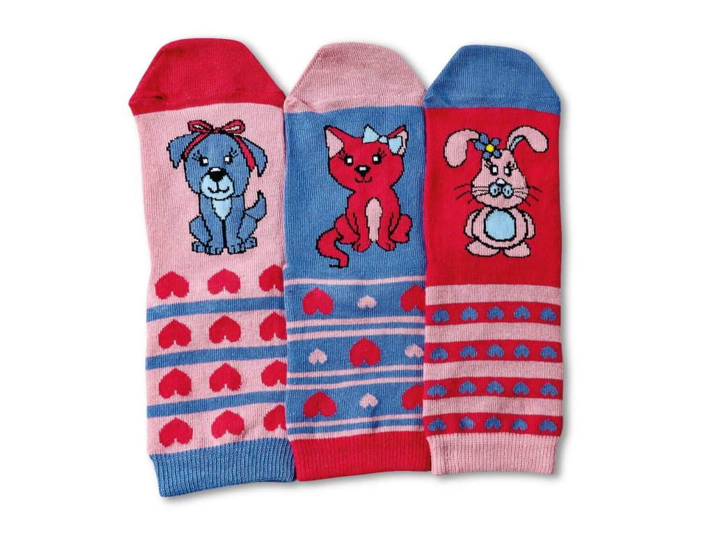 Detské veselé ponožky Pets 3ks veľ.: 27-30