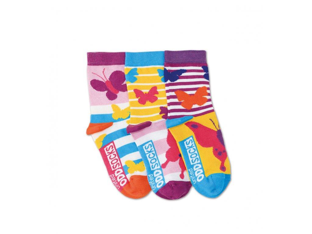 Detské veselé ponožky Butterfly 3ks veľ.: 27-30