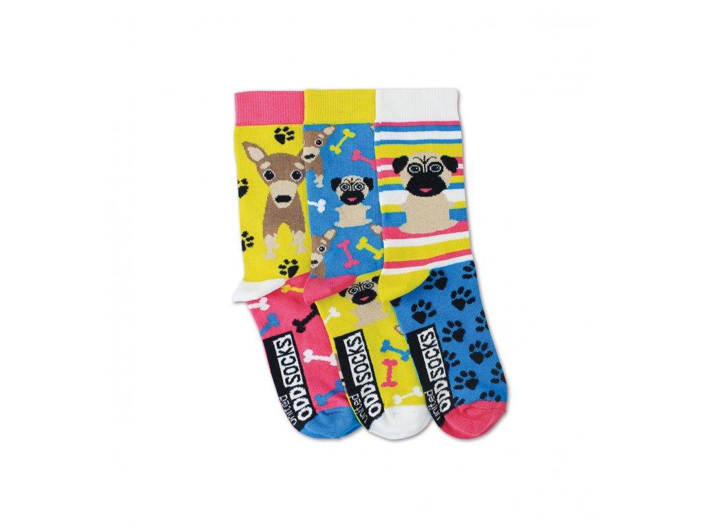 Detské veselé ponožky Pugs 3ks veľ.: 31-39