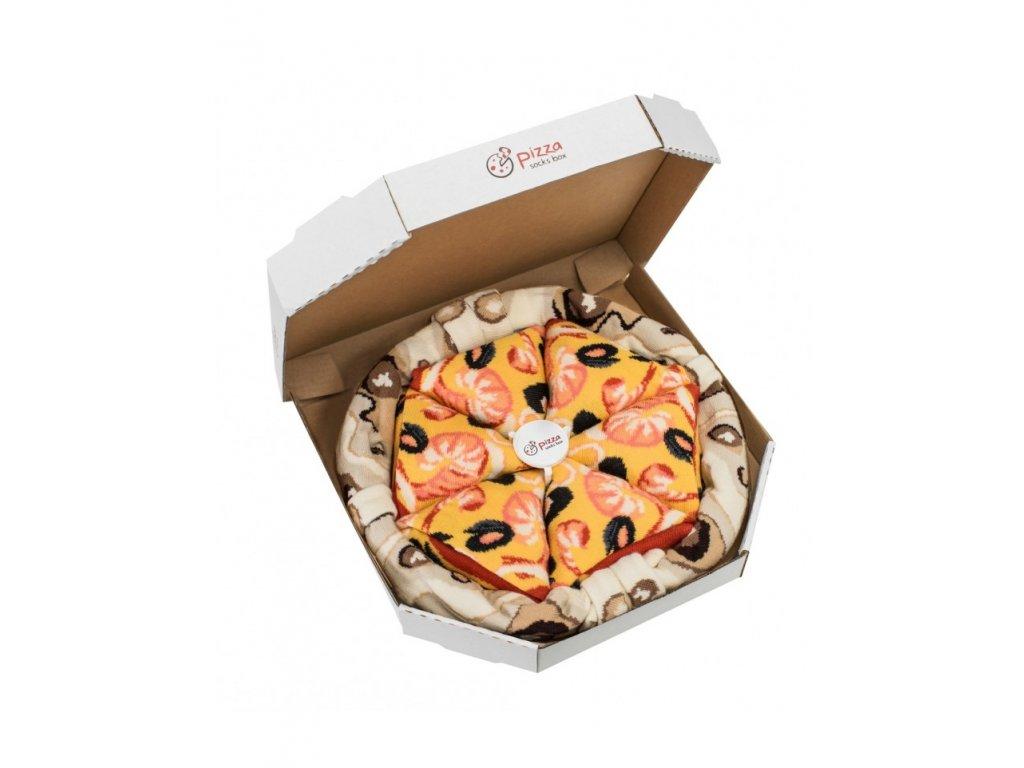 Darčekové balenie ponožiek Pizza Box - Seafood (4 páry)