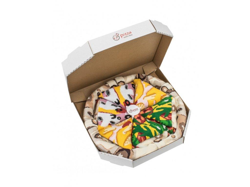 Darčekové balenie ponožiek Pizza Box - MIX 2 (4 páry)