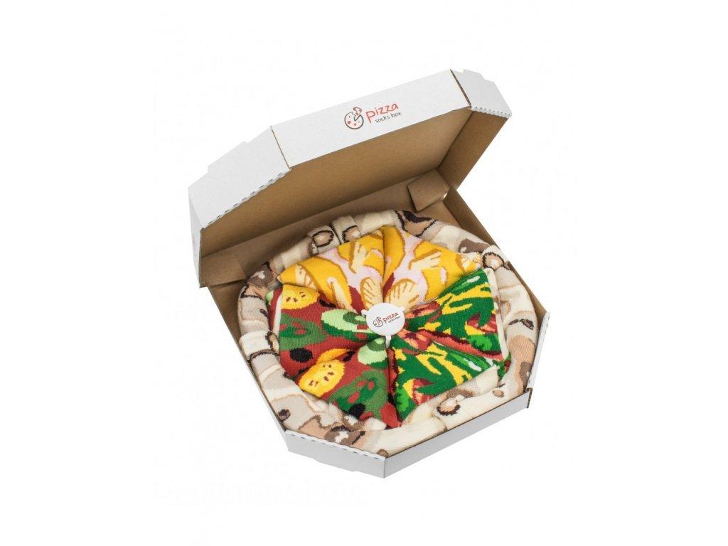 Darčekové balenie ponožiek Pizza Box - MIX 4 (4 páry)