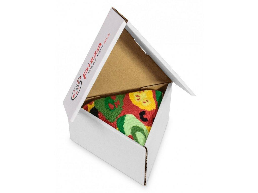 Darčekové balenie ponožiek Pizza Box - Vege (1 pár)