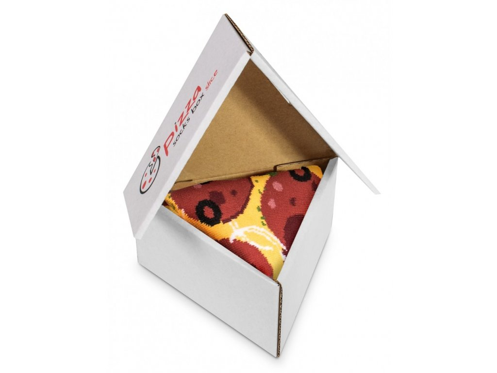 pizza box pepperoni ponozky paradoo