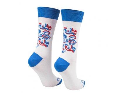 Veselé ponožky biely folk vtáčik