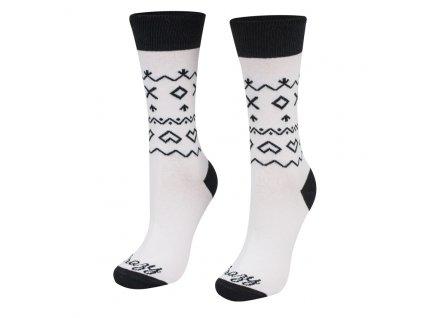 Veselé ponožky biele Čičmany