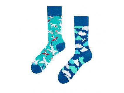 Veselé ponožky Lietadlá a oblaky