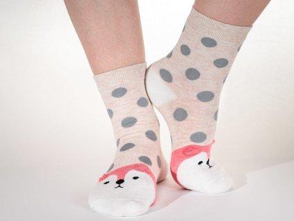 Veselé ponožky Psík s uškami