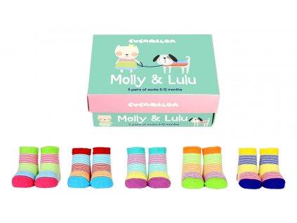Detské veselé ponožky Molly and Lulu veľ.: 0-12 mesiacov