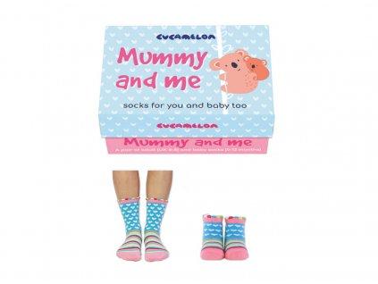 Darčekové balenie ponožiek Mummy and me (mama+dieťa 0-12 mesiacov)