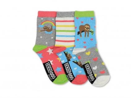 Veselé ponožky Sloth 3ks veľ.: 37-42