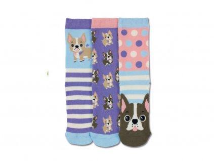veselé ponožky buldoček 3 ks