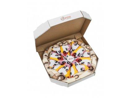 Darčekové balenie ponožiek Pizza Box - Capriciosa (4 páry)