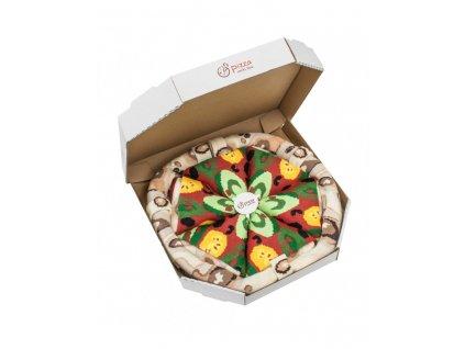 Darčekové balenie ponožiek Pizza Box - Vege (4 páry)
