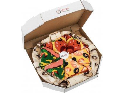 Darčekové balenie ponožiek Pizza Box - MIX 1 (4 páry)