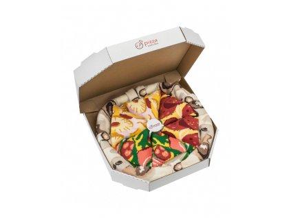 Darčekové balenie ponožiek Pizza Box - MIX 3 (4 páry)