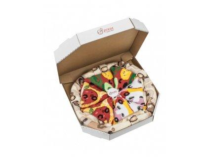Darčekové balenie ponožiek Pizza Box - MIX 6 (4 páry)