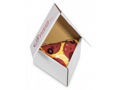 Darčekové balenie ponožiek Pizza Box - Pepperoni (1 pár)