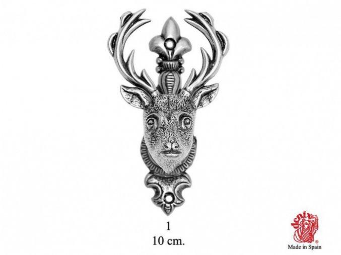 Replika Držák nástěnný Jelení hlava stříbrná