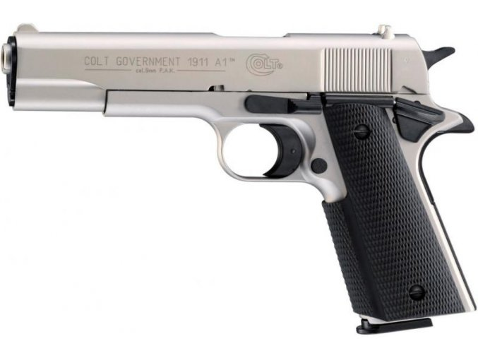 Plynová pistole Colt Government 1911 A1 nikl cal.9mm
