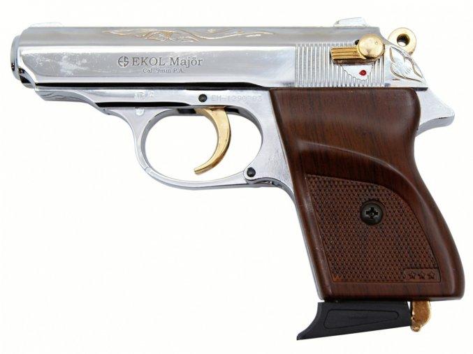 Plynová pistole Ekol Major chrom gold s rytinou cal.9mm