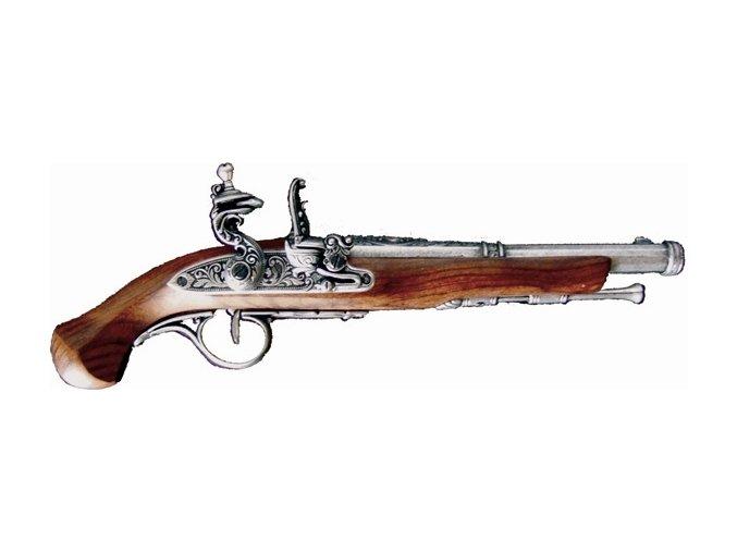 Replika křesadlová Pistole soubojová, 18.stol.