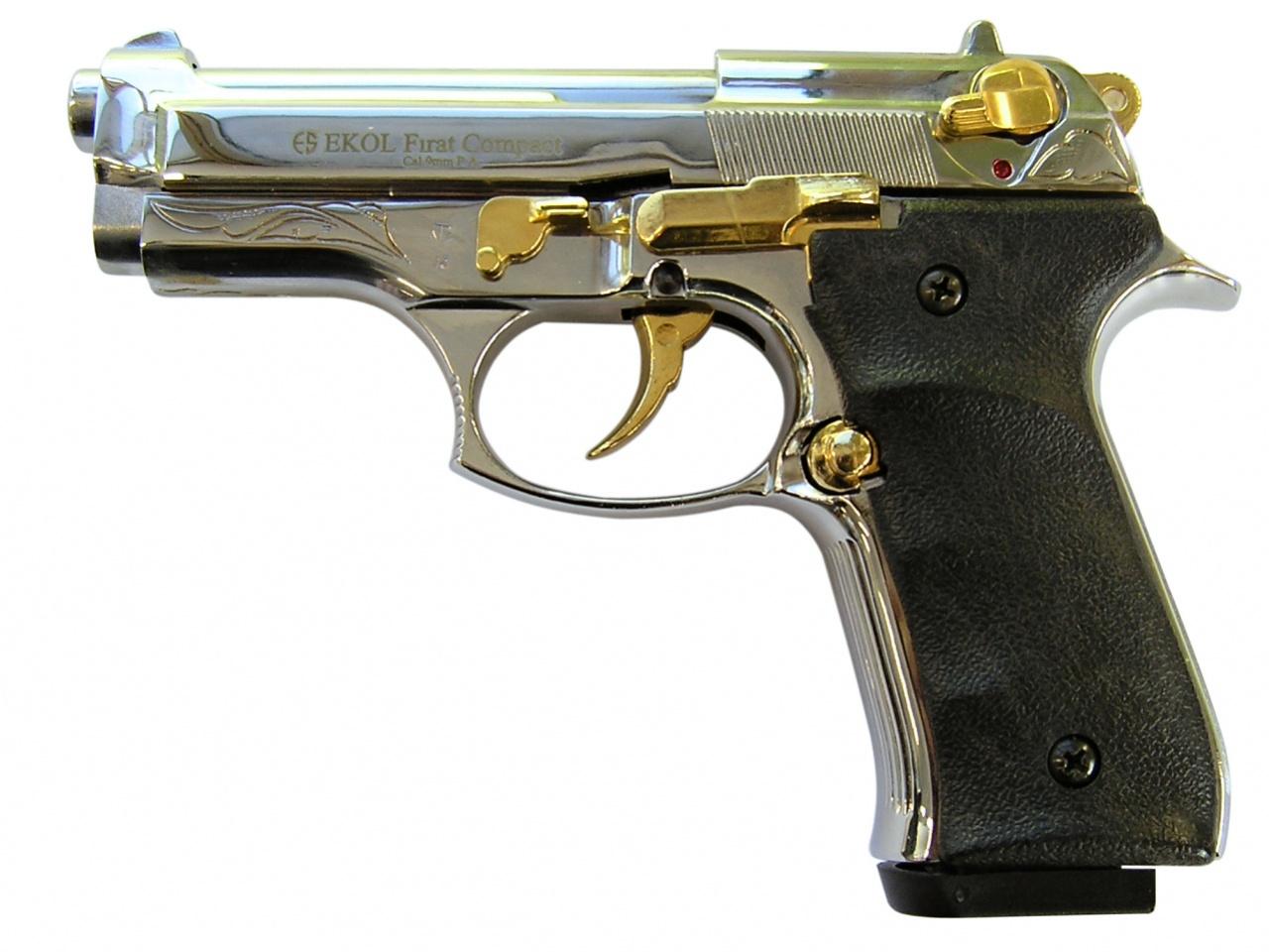 Plynová pistole Ekol Firat Compact chrom gold s rytinou cal.9mm