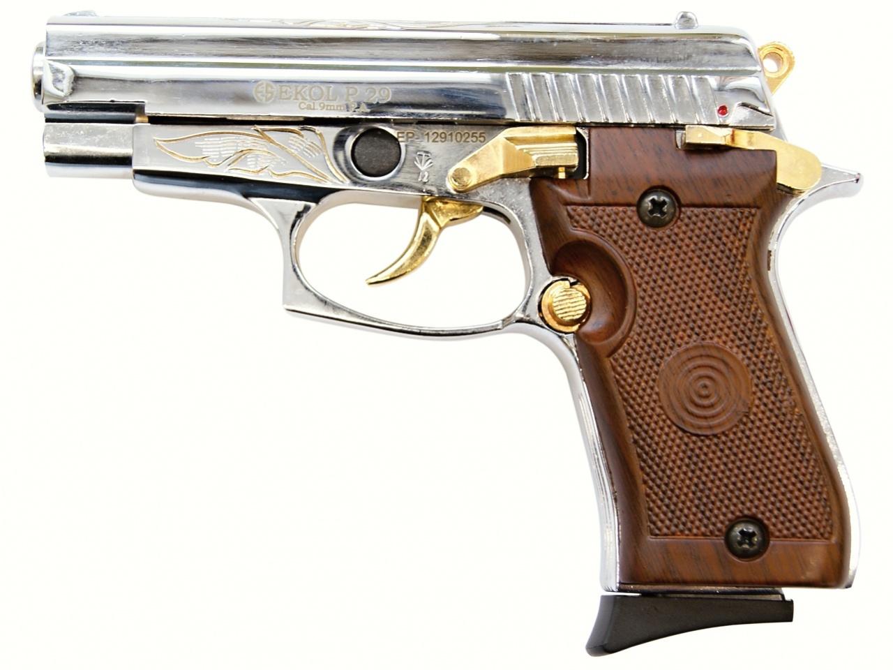 Plynová pistole Ekol P29 chrom gold s rytinou cal.9mm