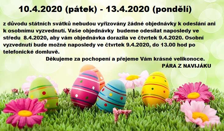 VELIKONOČNÍ SVÁTKY - 10.4.2020-13.4.2020