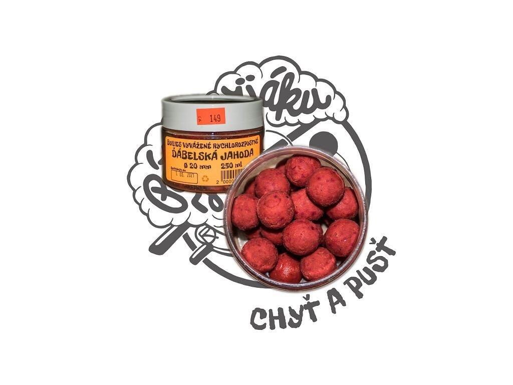 Boilies vyvážené, rychlorozpustné Ďábelská jahoda, 250 ml - pr. 20