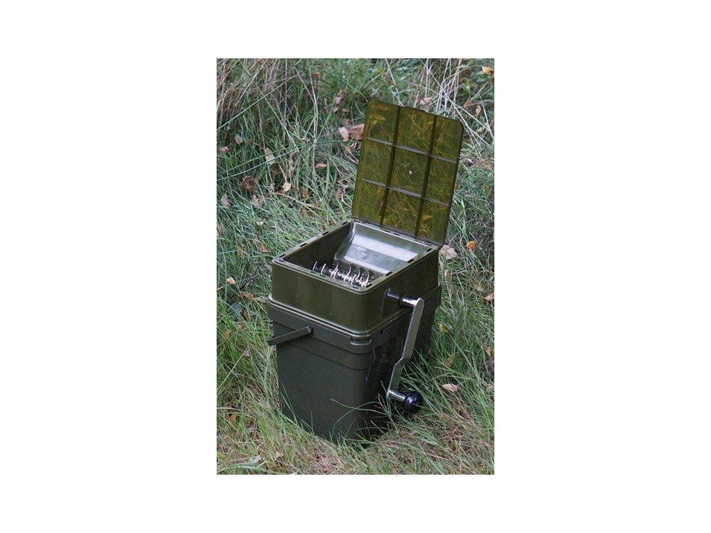 RidgeMonkey Drtička Advanced Boilie Crusher + kýbl Modular Bucket 17l - celý set