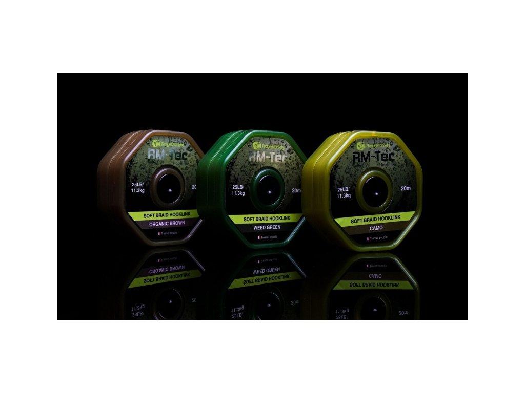 RidgeMonkey Šňůrka RM-Tec Soft Braid Hooklink 25lb 20m Weed Green