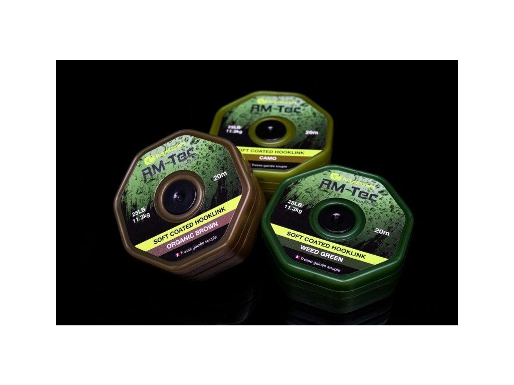 RidgeMonkey Tec Soft Coated Hooklink 20m - 25lb hnědá