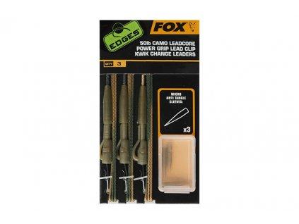 Fox Montáže 50lb Camo Leadcore Power Grip Lead Clip Kwik Change Leaders 3ks