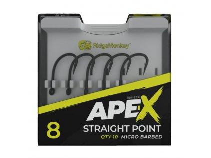 RidgeMonkey Háček Ape-X Straight Point Barbed Velikost 4 10ks