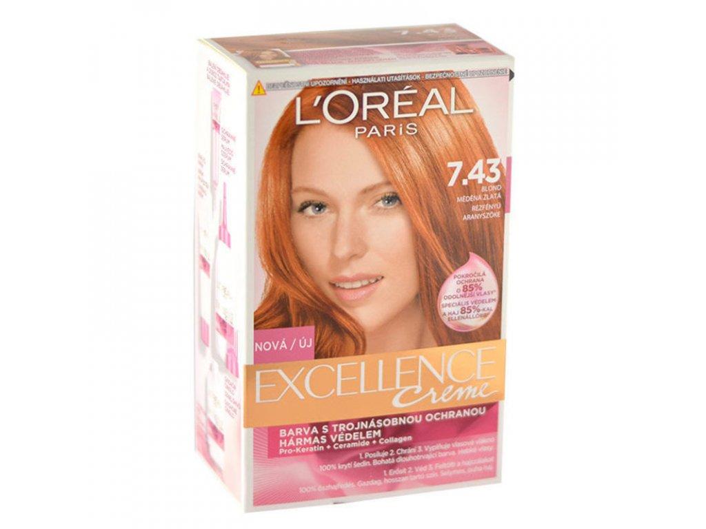 LOREAL Excellence Creme - (7,43 Dark Copper Gold Blonde) barva na vlasy